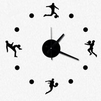 Wholesale DIY Wall Clock in Playing Football Bedroom Clock for Home Decoration Quiet Design inch Black
