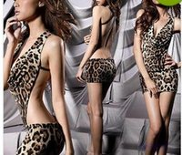 Wholesale Womens Sexy Leopard Teddies Backless Jumpsuits Lingerie Undershirts Underwear