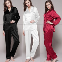 Wholesale Gift Womens Silk Satin Pajamas Set Pajama Pyjamas PJS Sleepwear Loungewear U S S6 M8 M10 L12 L14 L16 L18 Plus Solid