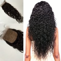 Wholesale Fashion Wave Water Wave Silk Base Closure Length Inch Available Free Middle Three Parts No Shedding No Tangle Natural Black Color