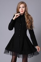 Wholesale 2016 autumn winters in Europe and the lapels pure color long sleeve double breasted elegant twill cloth dust coat veil pendulum