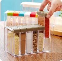 Wholesale Creative grid Plastic Seasoning box Stylish kitchen spice jar Simple Storage Box Transparent Storage Bottles