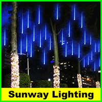 Wholesale Outdoor Christmas Lights cm cm cm LED String Meteor Shower Rain Tubes Light Wedding Decoration lighting White Blue RGB EU US Plug