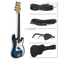 Wholesale Blue Electric Bass Guitar Includes Strap Guitar Case Amp Cord