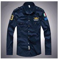 air force dress shirt - 2016 shirt air force one men shirt long sleeve slim fit aeronautica militare men dress shirt XL camisas hombre camisa masculina