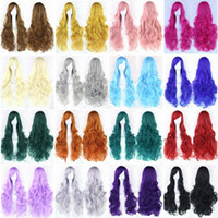 Wholesale 1pcs Colors Inch Long Cosplay Wavy Red Rose Red purple pink blue green brown Synthetic Cosplay Wig Hair None Lace Hair Full Wigs