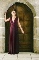 Wholesale Samples Neck Beads - 2016 Burgundy Red New Real Sample A Line Custom Made Long Bridesmaid Dress Convertible Maid Of Honor Ruffle High Quality