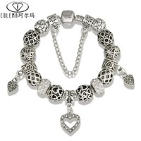 autumn bracelet - Autumn Style Open Heart Charm Bracelets For Women with White Crystal Beads Bracelet Bangles DIY Jewelery Original Pulsera