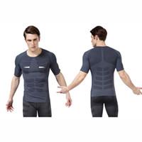 Wholesale Men Quick Dry Gym Shirt Corset Shaper Slimming Fitness Bodysuit Posture Corrector