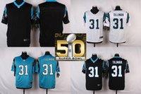 Wholesale Factory Outlet Carolina Pants Charles Tillman Men Womens Kids Blank White Blue Black with Super Bowl Patch Jerseys