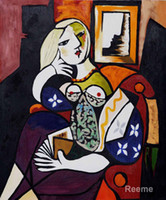 Wholesale Hand painted art on canvas Woman with Book Pablo Picasso paintings for sale High quality