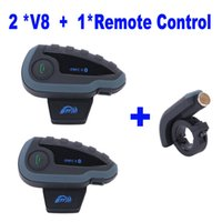 Wholesale 2 V8 Intercom Host Remote Controller motorcycle bluetooth multi intercom headset with NFC FM support riders talk same time