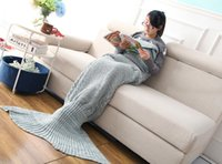 Wholesale Mermaid Tail Cosplay Children Women Men Winter Warm Mermaid Tail Costume Handmade Knit Blanket with Blue Colors