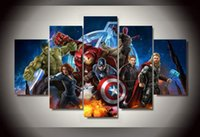 animations wall painting - 5Pcs With Framed Printed Avengers Animation picture Painting wall art room decor print poster picture canvas oil paintings