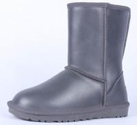 Wholesale Classic Low Winter Grey Snow Boots Women Leather Half Boots Ladies Fashion Warm Plush WaterProof Boot Shoes Woman Colors Plus Size
