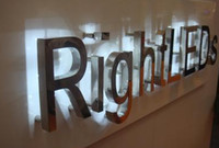 backlit mirror - Metal stainless steel mirror finish backlit D custom logo channel letters signs lettering signage