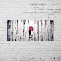 animal hug pictures - Modern Art Abstract Beautiful Abstract Oil Painting Lover Hug In Rainy Hand Painted Lover Pictures On Canvas Home Decor Picture