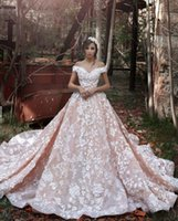 arabic sweets - Sweet Pink Arabic Wedding Dresses Vintage D Full Lace Dubai Bridal Gowns With Cap Sleeves Zip Back Long Court Train Luxury Gowns