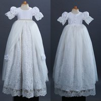 arrival communications - New Arrival Christening Gowns For Baby Girls Short Sleeves Jewel Neck Full Lace Baptism Dresses Flower Long First Communication Dress