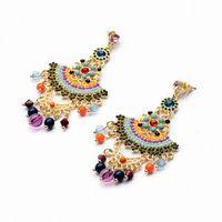 big gauge earrings - Shijie Jewelry Newest Bohemia Ethnic Fashion Resin Bead Fan Shaped Big Earrings for Women earrings for gauged ears