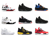 Wholesale Cheapest Low Cut Basketball Shoes - Free shipping Black Cats Cheap 4s Men basketball shoes outdoor sports shoes high quality women atheletic Retro sneaker 4 black red white