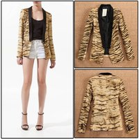 Wholesale fashion slim casual blazer no button tiger print suit jacket blazers