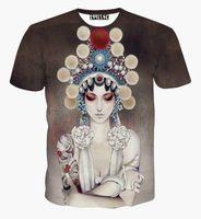 animal actor - tshirt China Style Women s T shirt d summer tops printed Beijing opera actor Casual t shirt short sleeve tees A21