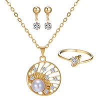 Wholesale Newest Jewelry set Gold plated Diamond Ring Pendant necklace Earrings set Popular Bridal Jewelry Pearl jewelry set