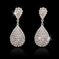 austrian crystal teardrop earrings - 2015 New Luxury Teardrop Austrian Crystal Earrings for Women Large Drop Dangle Bridal Earrings Wedding Accessories