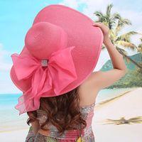 Wholesale Cowboy Sexy Man - 2016 Straw Hats For Women's Female Summer Ladies Wide Brim Beach Hats Sexy Chapeau Large Floppy Sun Caps New Brand Spring Praia