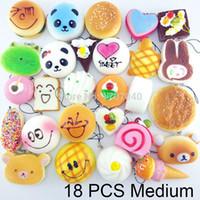 Wholesale Medium Random Squishy Soft Panda Bread Cake Buns Macaroon Phone Straps Key Chains Mixed