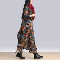 Wholesale 2016 Autumn Winter Dresses Vintage Women Dress Casual Print Floral Plus Size Elbise Flax Long Dress Women Maxi Dress