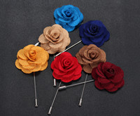 Wholesale Top Quality Lapel Flower Man Woman Camellia Handmade Boutonniere Stick Brooch Pins Men s Accessories in Colors