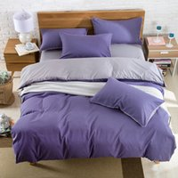 Wholesale Cheap Simple Bedding Sets Solid Pieces Home Textiles Comfortable Pure Color Light Blue High Quality