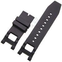 achat en gros de x bracelet noir-28mm x 16mm bracelet bande de montre en caoutchouc noir pour Invicta bracelet en silicone Watch Accessoires Pas de boucle