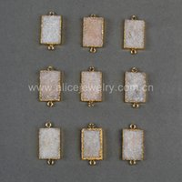 Wholesale Gold Plated Rectangle Shape Natural Agate Titanium AB Druzy Stone Charm Pendant Connector Charm with Double Bails for Jewlery Acc G0732