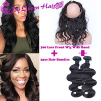 band silk lace - 360 Lace Frontal Closure With Bundles Brazilian Lace Frontal Weave W Adjustable Band Body Wave Brazilian Human Hair extension w silk closure
