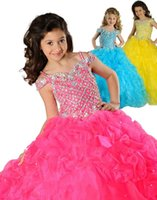 belle yellow gown - New Sparkle Glitz Puffy Sexy Belle Christmas Kids Pageant Gown Yellow Royal Pink Ruched Flower Girl Dresses Party Crystals Beads