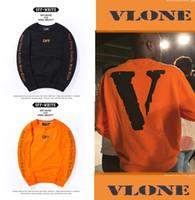 add t shirts - 2016 Hiphop VLONE X Off White T Shirt Kanye West Harajuku Kpop Friends Printed Tops Tees Crewneck Long Sleeve T Shirt Mens Clothes add wool