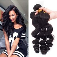 7A Peruvian Hair Weave Extensions de cheveux humains 8 '' - 28 '' Loose Wave 3Pcs / Lot Naturel Noir Peut être Teints Shedding Free Hair Extension Weft Remy