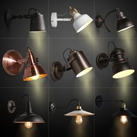 american frosting - American country style retro industrial iron wall lamp Restaurant and bar aisle stairs and corridor balcony wall rocker commercial lighting