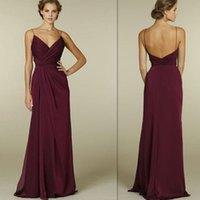 Wholesale Burgundy Bridesmaid Dresses Cheap Sexy Deep V Neck Spaghetti Straps Open Back Wedding Party Gowns Chiffon Ruched Long Bridesmaids Dress