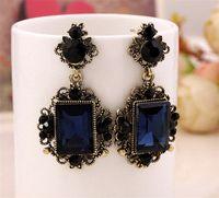 Wholesale new big navy blue color crystal drop earrings for women vintage dangle earrings Europe brand earrings very high quality