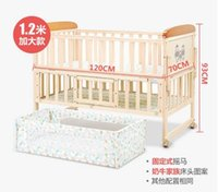 Wholesale Wood Crib Infant cradle baby crib bed table multifunctional game bed with roller with mosquito net