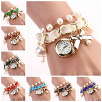 acrylic crystal watch - Fashion Women Bracelet Wrist Analog Quartz Round Dial Watch Crystal Pearl Bow Bracelet Wrist Analog Quartz Round Dial Watch HJ012