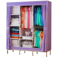 Wholesale Portable Closet Storage Organizer Wardrobe Clothes Rack Steel Shelves Stripe