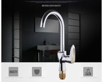 Wholesale All copper kitchen faucet hot and cold mixing water crystal pulling Caipen sink faucet ware