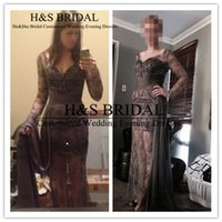 beaded outer - Prom dress lace long sleeves sexy v neck beading short inside outer long evening dresses lace gown real customer show photos
