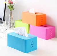 Wholesale rectangular Plastic facial tissue napkin box toilet paper dispenser case holder home office decoration colors BH070