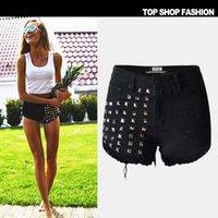 Wholesale Sexy high waist hole black denim hot pants Dark blue and white Beads denim shorts